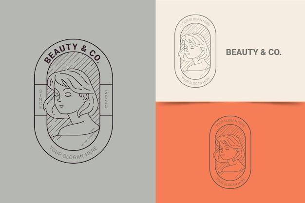 Szablon logo liniowej płaskiej kobiety