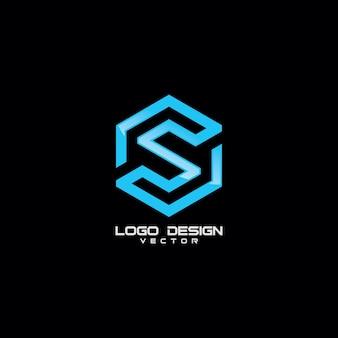Szablon logo liniowy nowoczesny symbol s