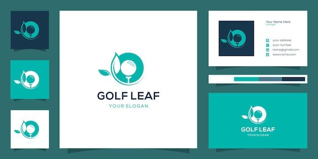 Szablon logo liść golfa