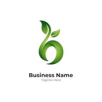 Szablon logo liść litera b