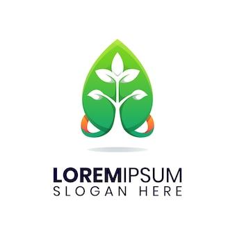 Szablon logo liść zielony kropla wody