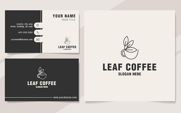 Szablon logo liścia kawy w stylu monogram
