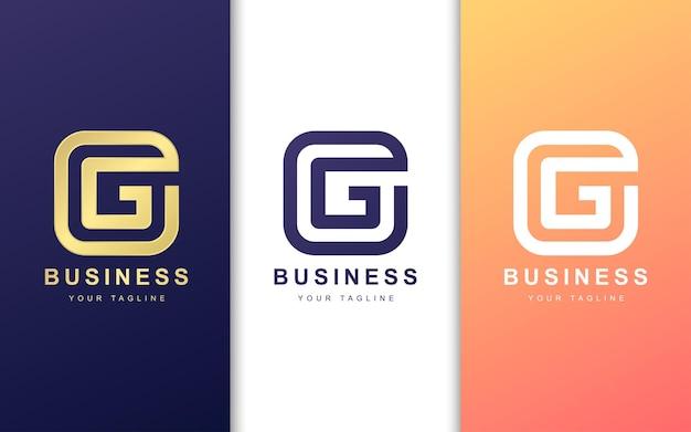 Szablon logo litera g. koncepcja nowoczesnego logo kwadratowego