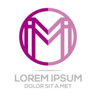 Szablon logo litera m koło