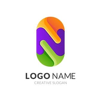 Szablon logo litera n, nowoczesny styl logo 3d w żywych kolorach gradientu