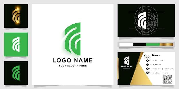 Szablon logo litery aa lub monogramu z projektem wizytówki