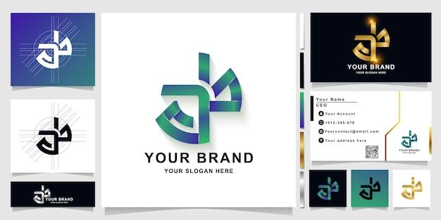 Szablon logo litery ab lub monogram z projektem wizytówki