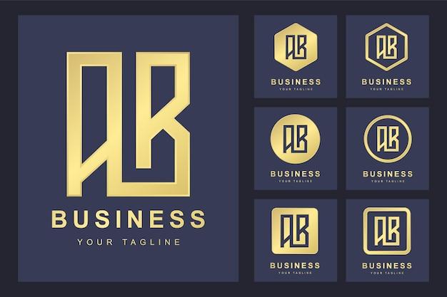 Szablon logo litery ab w kilku wersjach