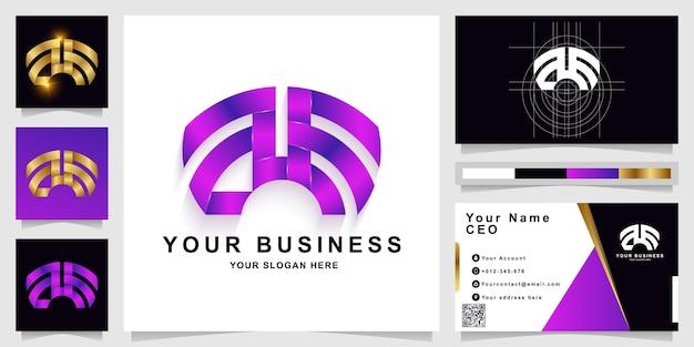 Szablon logo litery ae lub monogramu z projektem wizytówki