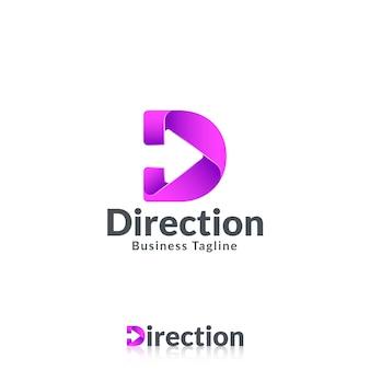 Szablon logo litery d ze strzałką