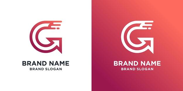 Szablon logo litery g z nowoczesną koncepcją strzałki