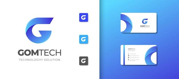 Szablon logo litery g z projektem wizytówki
