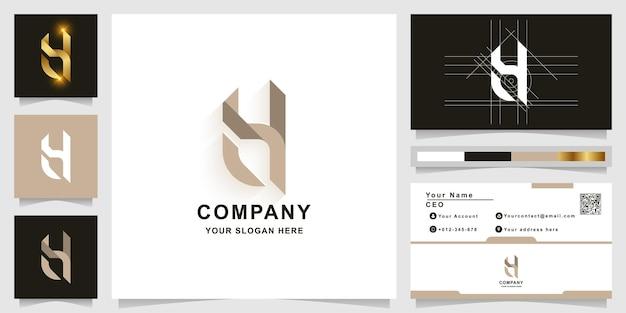 Szablon logo litery h lub monogram z projektem wizytówki