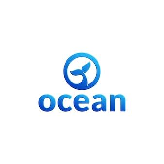 Szablon logo litery o z ogonem wieloryba wewnątrz