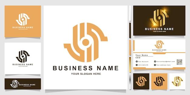 Szablon logo litery s lub lis z projektem wizytówki