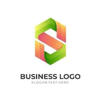 Szablon logo litery s w stylu 3d pomarańczowy i zielony