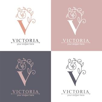 Szablon logo litery v. monnogram, delikatny kwiatowy wzór. logo osobiste.