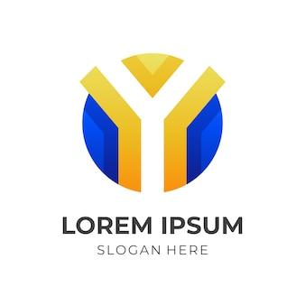 Szablon logo litery y w stylu 3d w kolorze niebieskim i żółtym