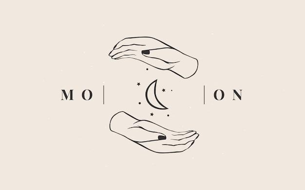 Szablon logo. logotyp magii ezoterycznej branży astrologicznej.