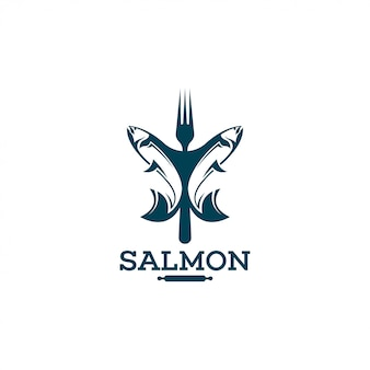 Szablon logo łososia.