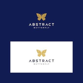 Szablon logo low poly z geometrycznym motylem