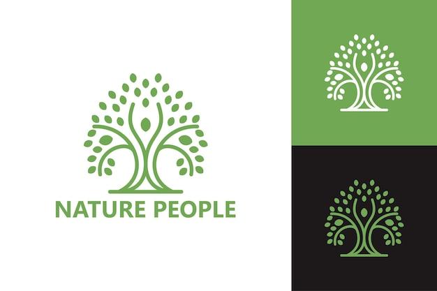 Szablon logo ludzi natury wektor premium