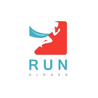 Szablon logo ludzie biegają w sporcie