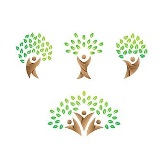 Szablon logo ludzie dbają, zielone logo opieki, logo opieki drzewa