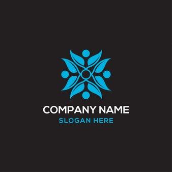 Szablon logo ludzkiego liścia