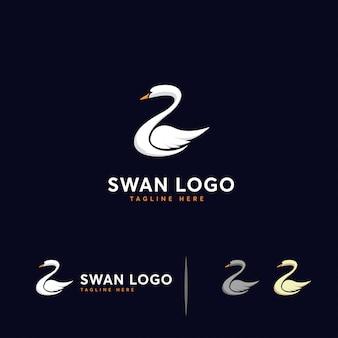 Szablon logo luksusowe łabędź