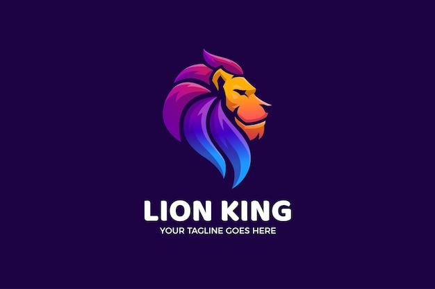 Szablon logo luksusowego gradientu lwa