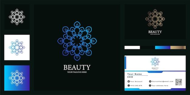 Szablon logo luksusowego kwiatu, mandali lub ornamentu z wizytówką.