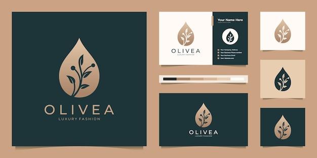 Szablon logo luksusowej oliwy z oliwek. kreatywne połączenie gałęzi i kropelki z projektem wizytówki.