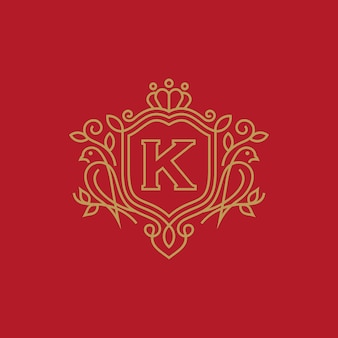 Szablon logo luksusowy ptak heraldyka
