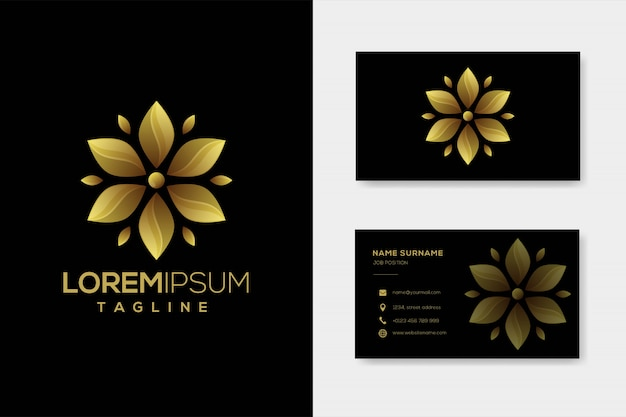 Szablon logo luksusowy złoty kwiat z wizytówki