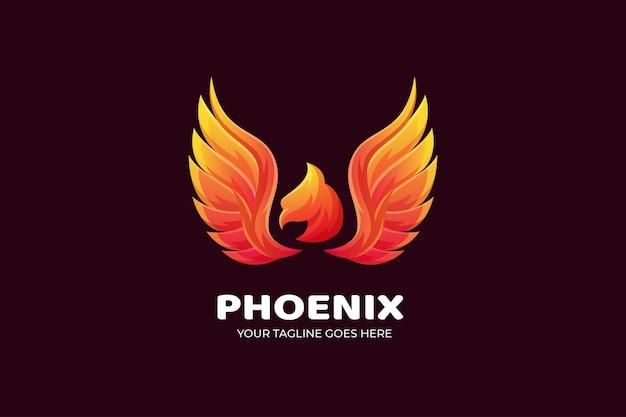 Szablon logo luksusowych gradientu ptaka phoenix