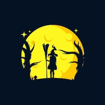 Szablon logo małej czarownicy z latającą miotłą
