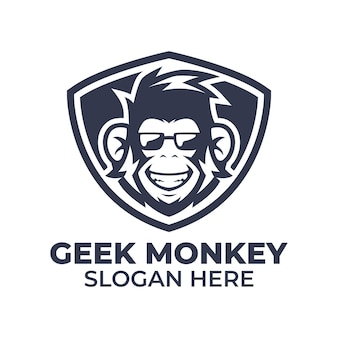 Szablon logo małpa geek