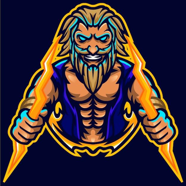 Szablon logo mascot muscle muscle zeus thunderbolt