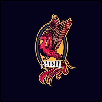 Szablon logo maskotka czerwony feniks