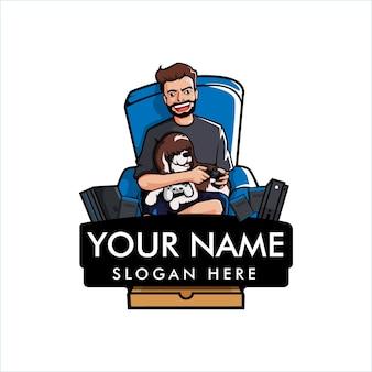 Szablon logo maskotka do gier mężczyzna i pies