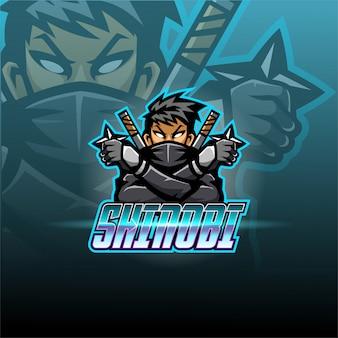 Szablon logo maskotka e-sport shinobi