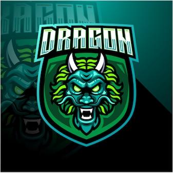 Szablon logo maskotka esports głowy smoka