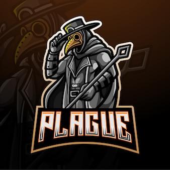 Szablon logo maskotka gier esport lekarz plaga.