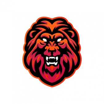 Szablon logo maskotka głowa lwa esport dla różnych działań