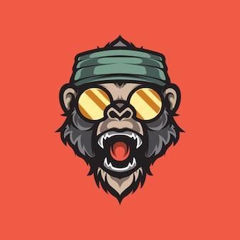 Szablon logo maskotka głowa małpy hipster