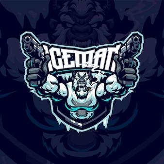 Szablon logo maskotka iceman