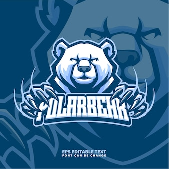 Szablon logo maskotka niedźwiedź polarny