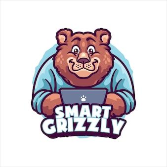 Szablon logo maskotka niedźwiedzia roboczego