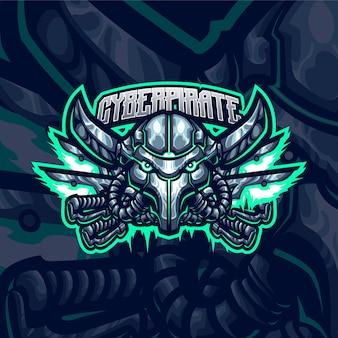 Szablon logo maskotka pirat cyborga